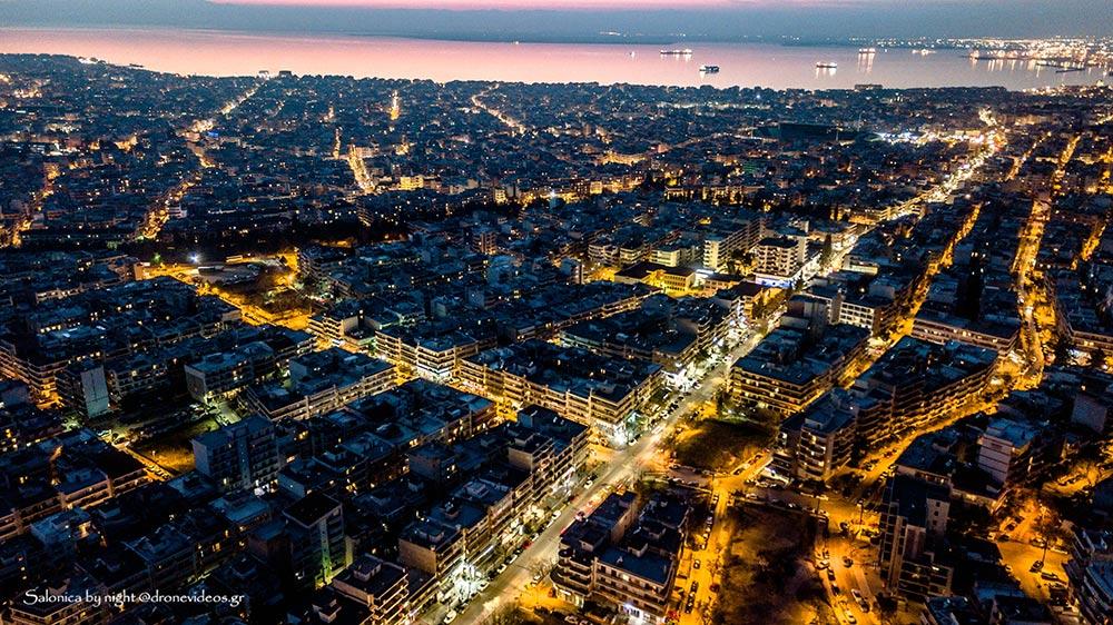 Νυχτερινή αεροφωτογραφία Θεσσαλονίκης